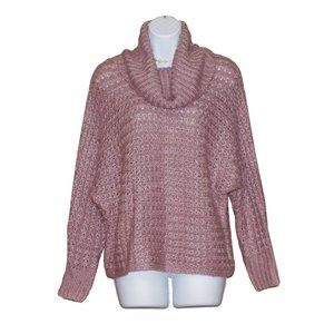 NWT Pink Rose Cowl Neck Cable Knit Sweater